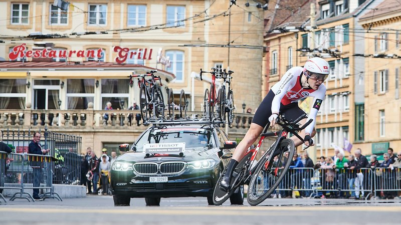 Comme cette année au Tour de Romandie, comme ici Roland Thalmann lors du prologue à Neuchâtel, des coureurs helvétiques devraient participer à cette épreuve sous le maillot national.