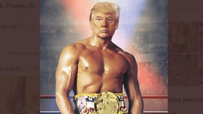 Le photomontage montre la tête de Donald Trump sur le corps de Rocky Balboa.