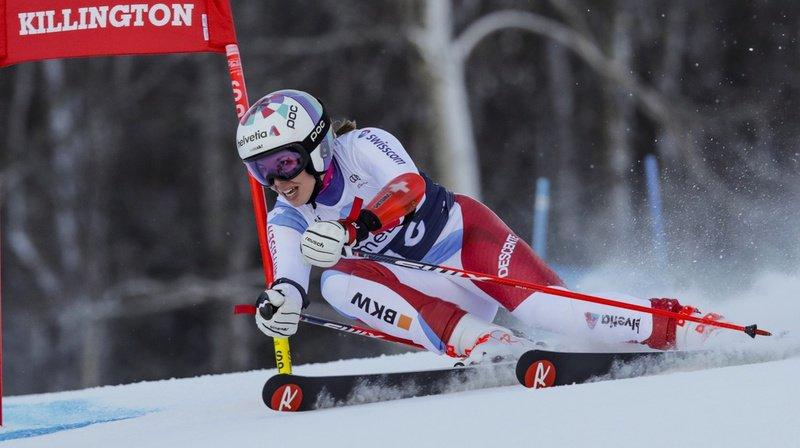 Michelle Gisin a terminé la première manche à 0''29 de l'Italienne Marta Bassino.