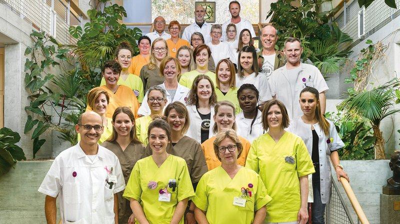 L'équipe maternité de l'Hôpital du Jura bernois.