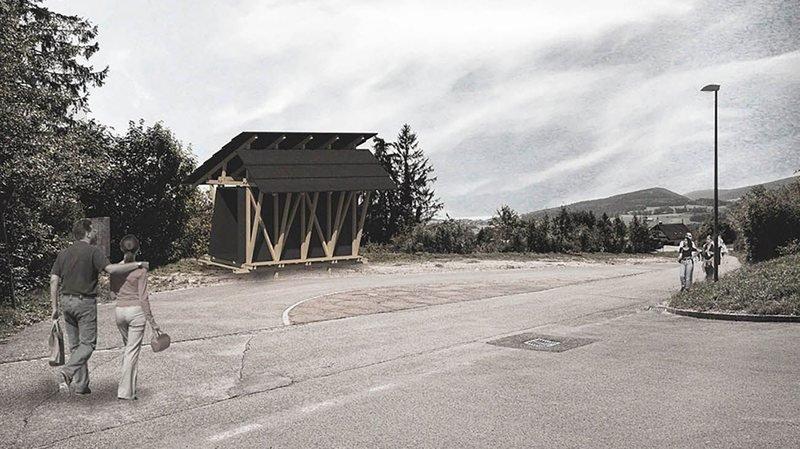 Un pavillon éphémère sur les hauts de Nods