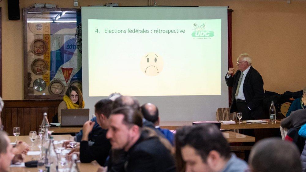 Walter Willener a fait la moue en parlant des élections fédérales lors d'une assemblée de l'UDC neuchâteloise aux Geneveys-sur-Coffrane.
