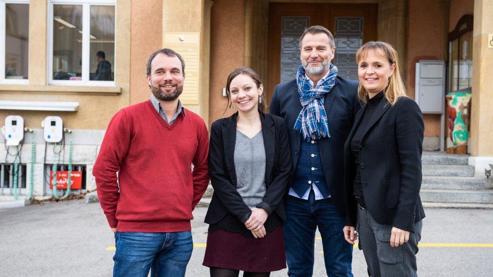 Une partie du comité de pilotage: les conseillers communaux Thomas Perret (Corcelles-Cormondrèche), Aurélie Widmer (Valangin), Rolf Schneider (Peseux) et Violaine Blétry-de Montmollin (Neuchâtel).