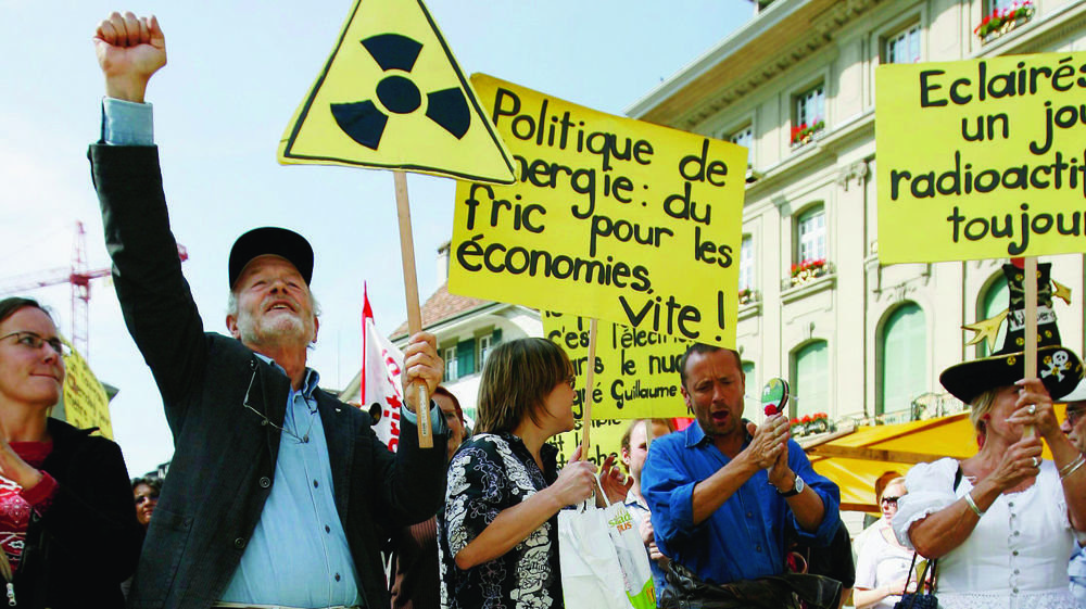 Manifestation des Verts contre  la construction de nouvelles  centrales nucléaires, en 2007,  à Berne.