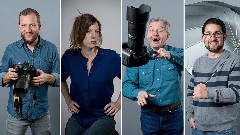 Les photographes d'«ArcInfo» David Marchon, Muriel Antille, Christian Galley et Lucas Vuitel (de gauche à droite).