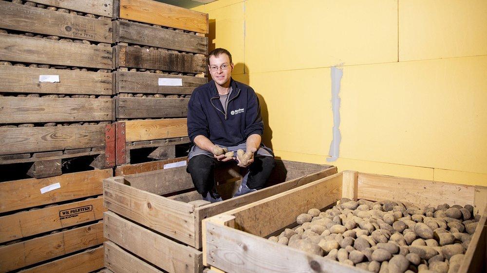 Serge Fankhauser et ses caisses où sont conservées les pommes de terre destinées à la vente directe.