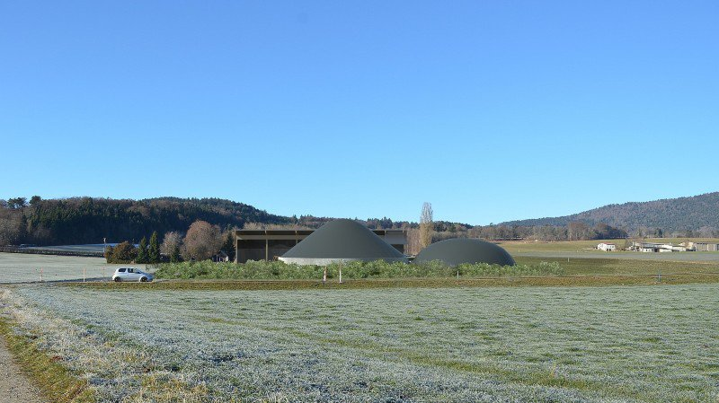 Photo-montage de la future usine de biogaz à Lignières. L'installation traitera le purin et le fumier d'une dizaine d'agriculteurs de la région, soit 17'600 tonnes de substrat par année.