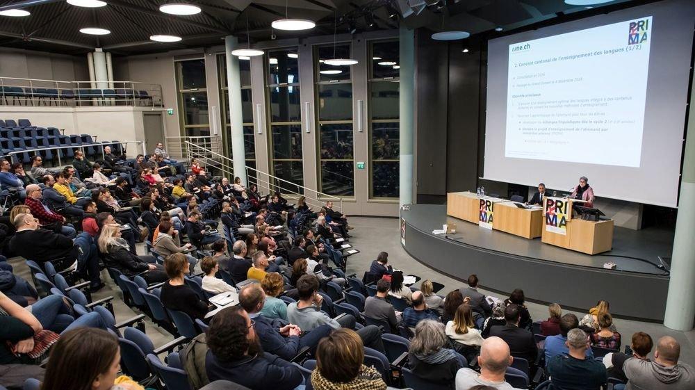 Un bilan du projet Prima a attiré du monde, mercredi soir à l'aula des Jeunes-Rives, à Neuchâtel.