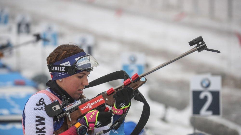 Lena Häcki a fini quatre fois sur le podium (trois en relais, une en individuel) en Coupe du monde.
