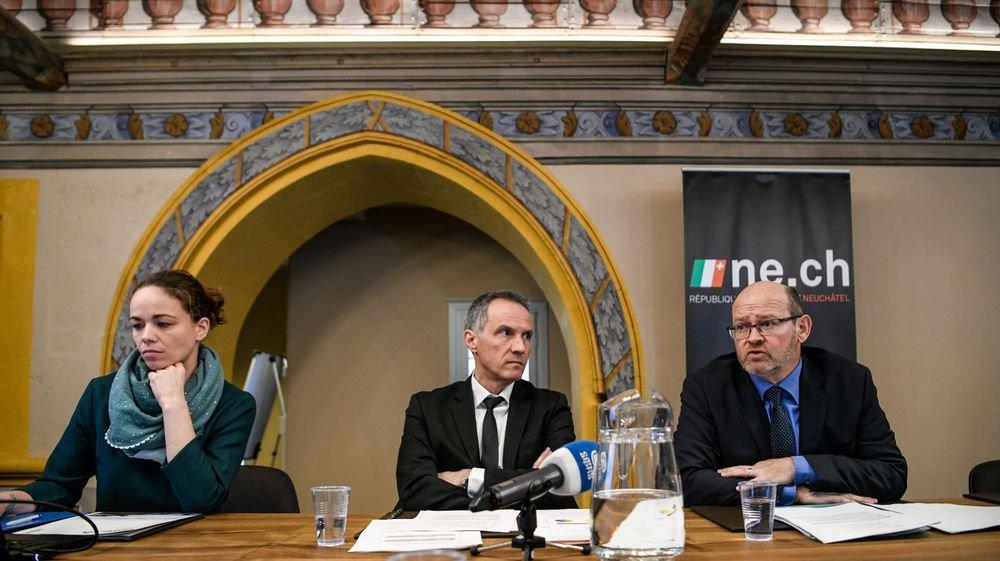 Une cour des comptes ne convainc pas Laurent Kurth, entouré de Philippe Godet et Aurélie Azar.