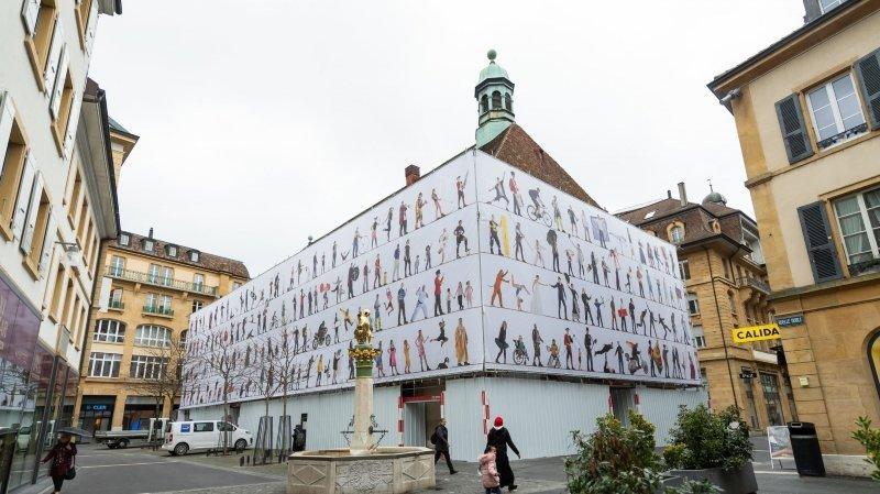 Neuchâtel: une bâche expose les photos de 200 personnages sur le temple du Bas