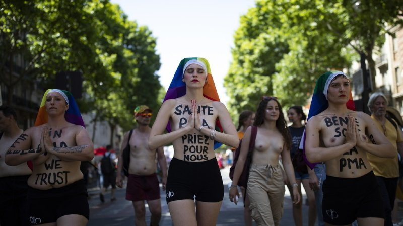 Saint-Valentin: des Femen s'enchaînent sur un pont à Paris