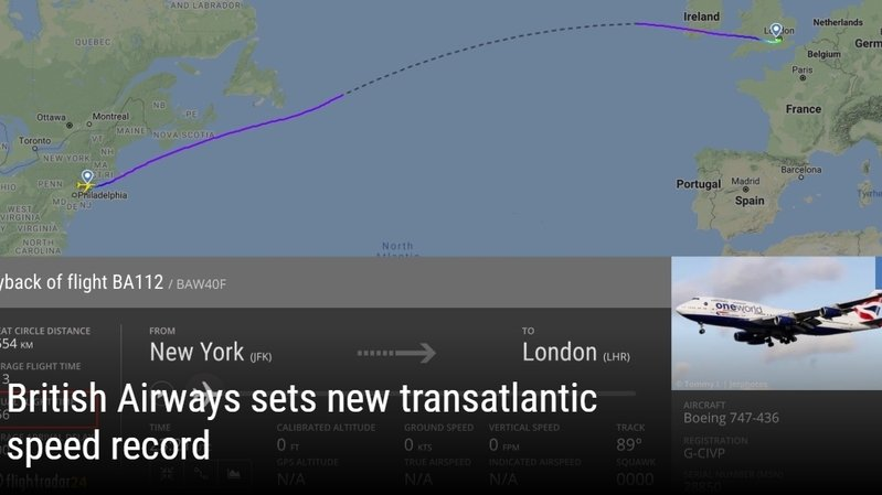 New York – Londres: un Boeing bat le record de la traversée de l'Atlantique, grâce à la tempête Ciara