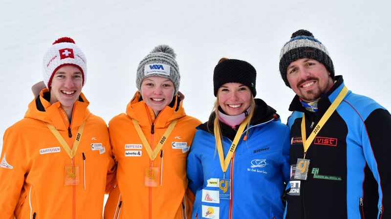 Les champions jurassiens de géant (de gauche à droite): Owen Fischer, Cheryl Sunier, Sarah Schindelholz et Pierre Stiemsbert.