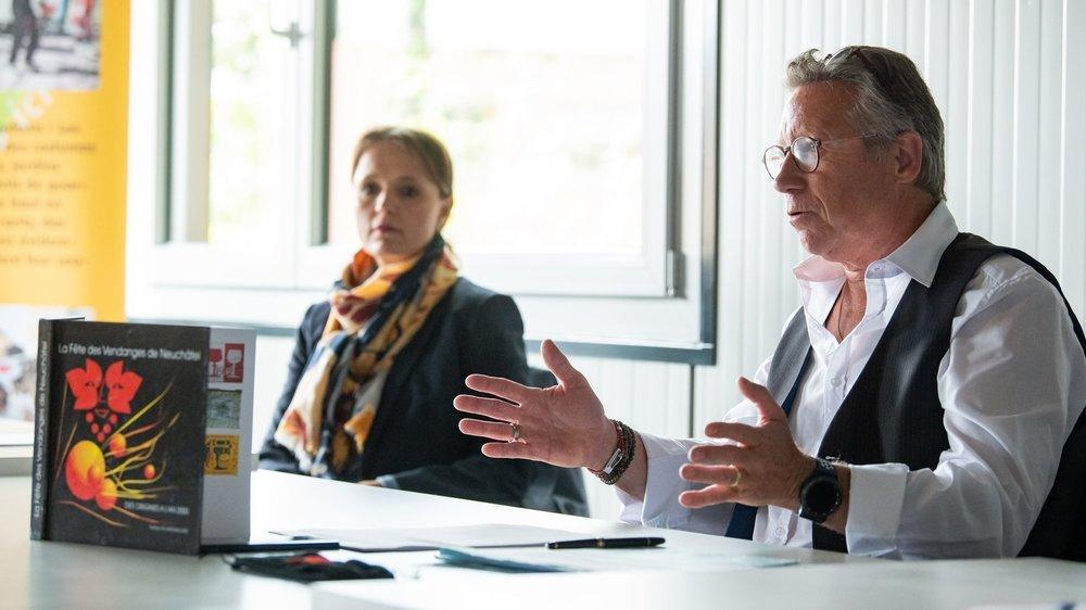 La conseillère communale Violaine Blétry-de Montmollin et le vice-président central de la Fête, Eric Leuba.