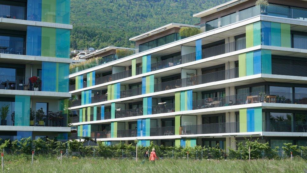 Un projet immobilier récemment sorti de terre dans le quartier de Monruz, à Neuchâtel.