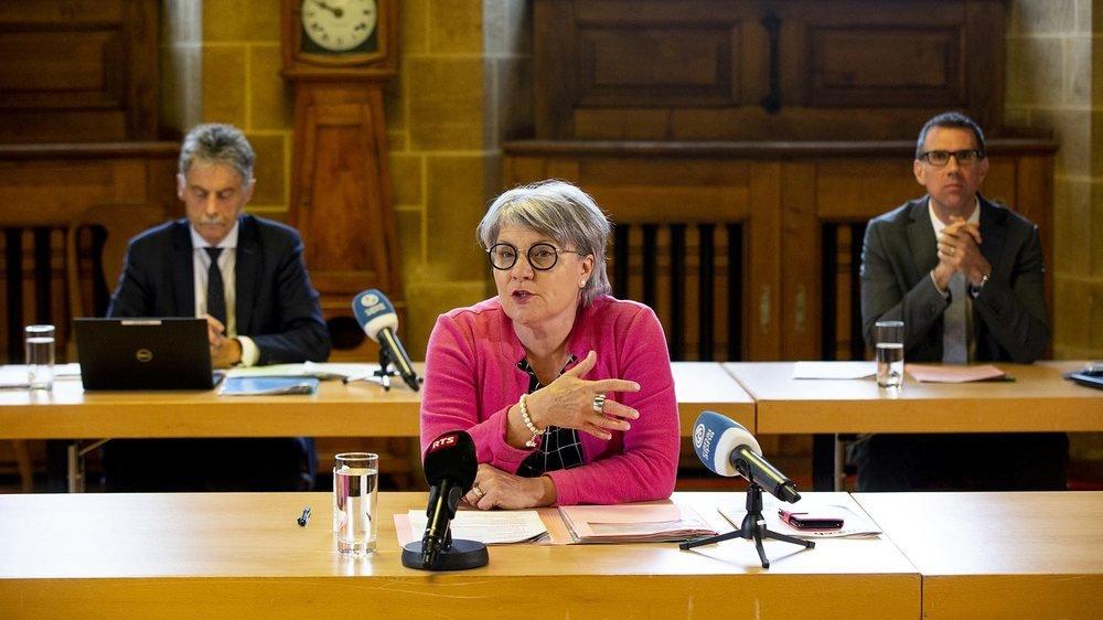 La conseillère d'Etat neuchâteloise Monika Maire-Hefti a présenté jeudi le dispositif cantonal de réouverture des écoles obligatoires dès le 11 mai.