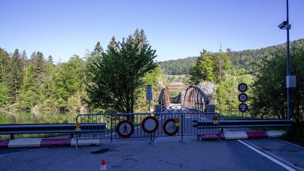 Le pont de Biaufond, fermé depuis mi-mars.
