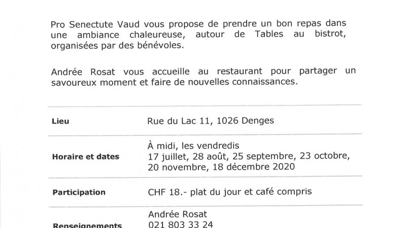 Table au bistrot au Café Restaurant des Amis