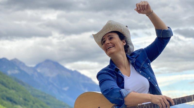 Sandrine Viglino en pique-nique dans le canton de Neuchâtel