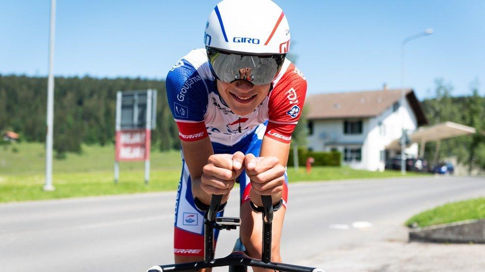 Alexandre Balmer s'est bien préparé sur son vélo de chrono.