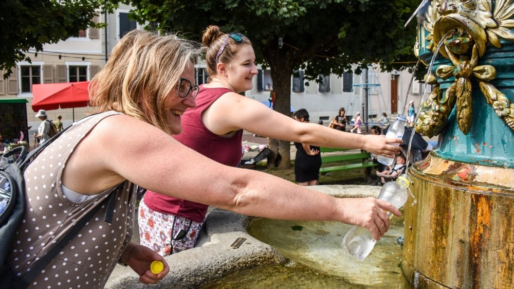 Lors du début de la canicule à La Chaux-de-Fonds, en août 2017, les fontaines faisaient des heureuses.