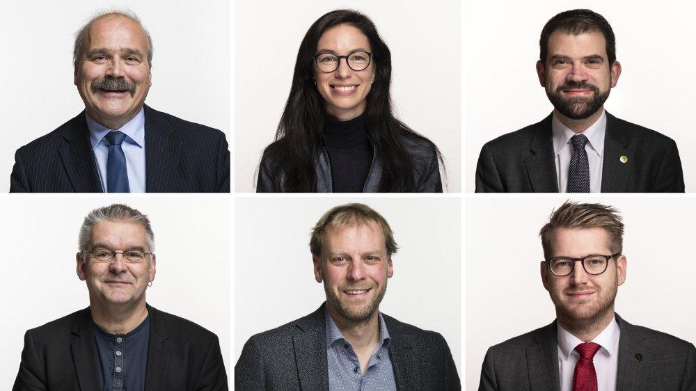 Les six élus neuchâtelois aux Chambres fédérales. De haut en bas et de gauche à droite: Philippe Bauer, Céline Vara, Damien Cottier, Denis de la Reussille, Fabien Fivaz et Baptiste Hurni.