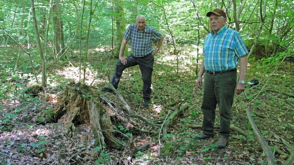C'est le chien de Fernand Loriol (à droite) qui a permis de découvrir le corps de l'aspirant Flükiger au creux d'un arbre déraciné. Le policier jurassien Edgar Theurillat était venu sur place le lendemain.