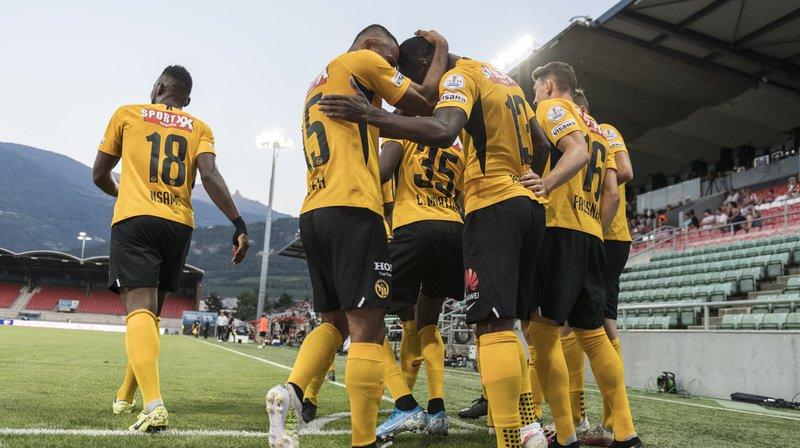 Les joueurs de Young Boys célèbrent le 1-0 contre Sion à Tourbillon.
