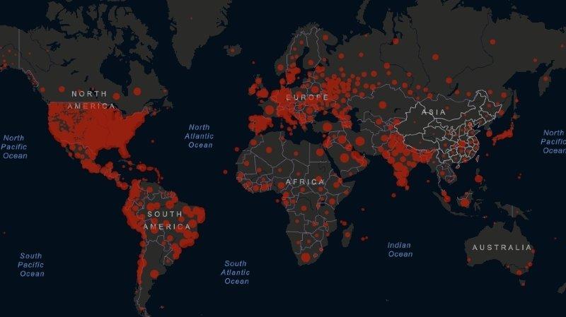 A partir du jeudi 23 juillet, la quarantaine sera obligatoire au retour de 42 pays, contre 29 jusqu'ici. Sur cette carte, les zones actuelles de contamination au Covid-19 dans le monde.