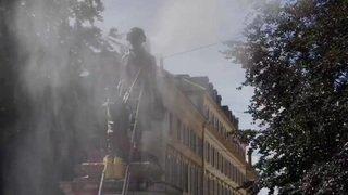 La statue de David de Pury nettoyée après avoir été sprayée de rouge