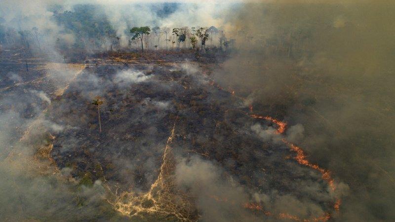 Les incendies, parfois volontaires pour agrandir la surface de terres arables, ravagent l'Amazonie, plus grande forêt de la planète, comme ici près de Novo Progresso, dans l'état du Pará au Brésil, le 23 août dernier.