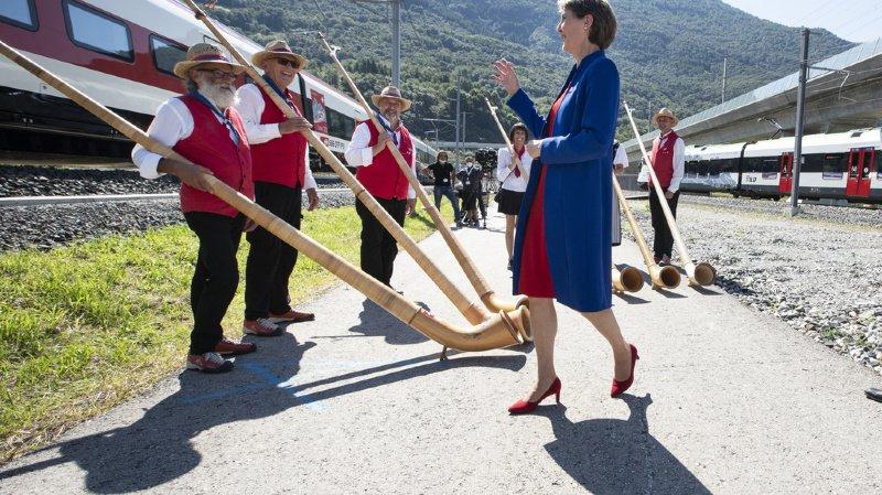La présidente de la Confédération, Simonetta Sommaruga, a fait le déplacement pour inaugurer le tunnel de base du Ceneri ce 4 septembre.