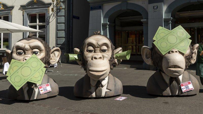 Greenpeace avait déjà mené une action symbolique à Bâle le 10 septembre pour demander une place financière plus propre.