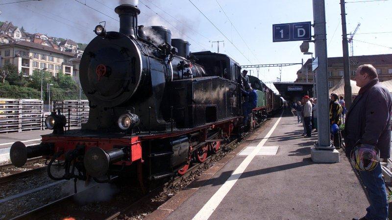 La locomotive Krauss-Maffei, ici en 2001 à Neuchâtel, sera de sortie samedi et dimanche.
